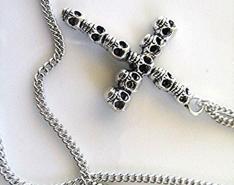 Cross necklace crucifix necklace chain necklace skull cross skull necklace Day of the Dead goth necklace grunge necklace emo gift.