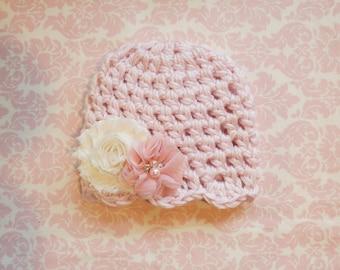 Light Pink beanie with scallop edge/ Newborn hat/ Baby girl hat