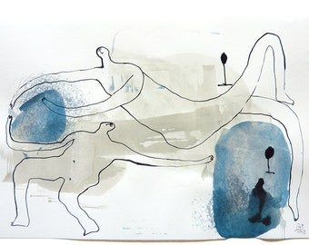 "movement, ORIGINAL Abstract Figurative Art on Paper, DIN A3 (16.5""x11.7""), ink, pen, acrylic colors, playful figures"