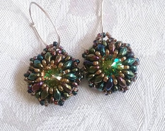 Luminous Green Iris Drops Swarovski Crystal Rivoli Earrings