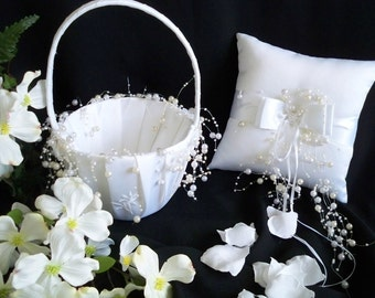 White  Flowergirl Basket and Ringbearer Pillow With Pearls Set