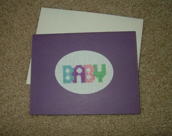 Completed/Finished Handmade Cross Stitched Card~Baby