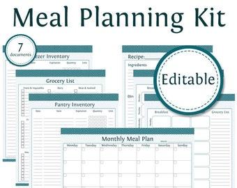 Meal Planner Kit - Fillable - Instant Download - Printable PDF - Bundled Kit (7 documents) - Menu Planning