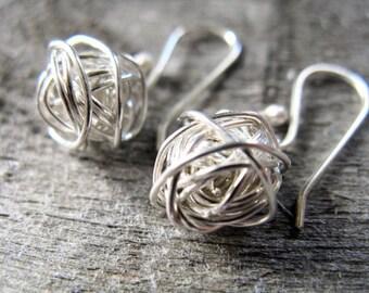 Sterling silver yarn ball earrings