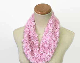 Sale Christmas In July, Pink Cowl, Hand Knit Cowl, Knit Cowl, Circle Scarf,  Gift For Her, Fashion Accessory, Christmas Gift