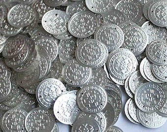 50 Metallic  Silver currency shape sequins/ KBRS043