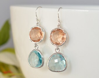 30% SALE, Champagne earrings, Aquamarine earrings, Silver earrings, Wedding earrings, Bridal earrings, Glass earrings, Anniversary gift