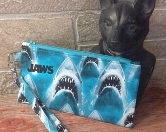 Jaws Shark inspired zipper pouch.