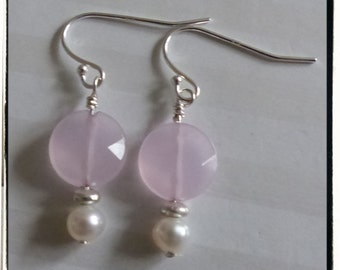 Faceted Rose Quartz, Freshwater Pearls and Sterling Silver Earrings -- Gift Idea -- Valentine's Day -- Treat Yourself