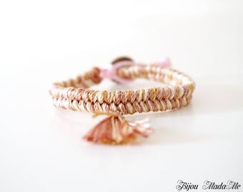 Tribal friendship tassel silk bracelet. Tribal Tassel Jewelry. Boho style sister gift for her. Ethnic bracelet, Bohemian summer bracelet