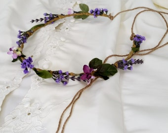 Bridal Lavender Flower Crown by Michele at AmoreBride Rustic Chic Woodland Wedding headpiece hair wreath flower girl accessories halo