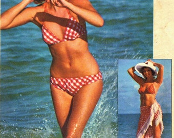 Vintage 70s Simplicity 6921 Misses Jiffy Reversible Bikini Swimsuit and Shawl Cover up  Sewing Pattern Size 12 Bust 34
