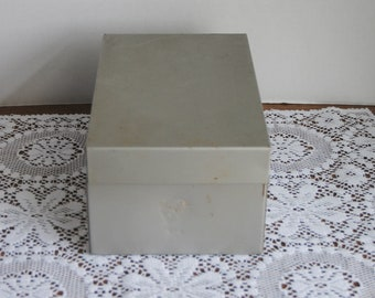 Vintage Weis Grey Silver 3x5 Index Card File Box with Alphabet Index Cards
