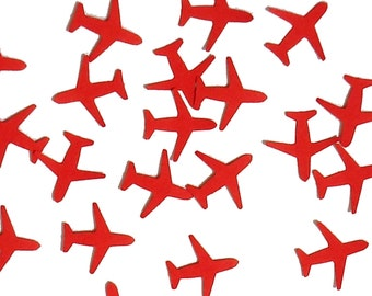 Mini Red Airplane Confetti 100CT, Airplane Theme Party Decoration, Travel, Time Flies Party, Wedding Party Supply, Airplane Birthday - No638