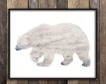 Polar Bear Print - Rustic Winter Photography- Ski Lodge Decor - Canadian Sellers - Double Exposure Nature Photography - Winter Wedding Sign