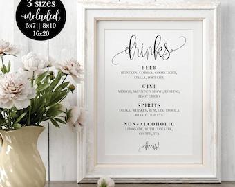 Drinks Menu Sign Editable, Modern Calligraphy Wedding Bar Menu, Printable Signature Cocktail Cheers Sign, DIY Instant Download Template