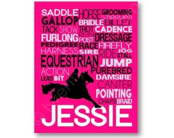 Horse Rider Typography Poster Print, Gift for Equestrian, Horse Riding Art, Girl's Horse Art, Horse Wall Art, Horse Canvas Art, Dressage Art