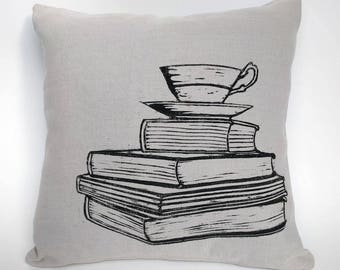 Books and Tea Cushion Cover