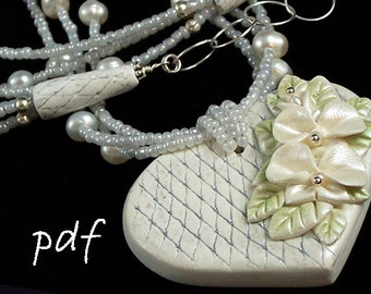 Polymer clay jewelry tutorial, faux porcelain polymer clay technique, heart necklace, handmade necklace ends,  instant download