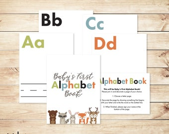 "Alphabet Game Baby Shower DIY ABC Book 8.5x11"" Baby's First Alphabet Book, book baby shower activity, book themed baby shower"
