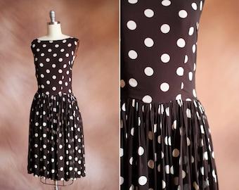 vintage 1960's brown & cream polka dot silk chiffon dress / size s