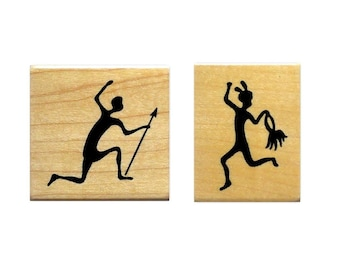 TRIBAL Dancer & Hunter, African Mounted rubber stamp set of 2 stamps, Sweet Grass Stamps No.17