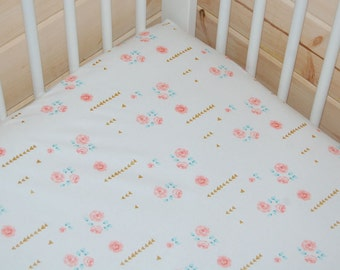 pink and gold baby bedding-  mini crib sheet, pink crib sheet/ changing pad cover- rose crib sheet, pink gold crib sheet