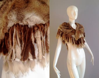 Vintage 70s Genuine  Fur Shawl with Fringe ~ Warm Wrap Around Fox Fur Scarf ~ Winter Shrug