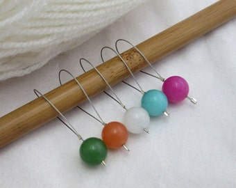 Multicoloured Jade Stitch Markers, Pack of 5, Yarn, Wool, Knitting Project, Knit Markers, Fits Most Needles, Notions, Handmade, Rainbow
