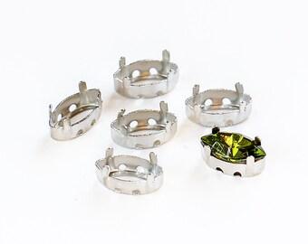 10х5 mm Rhodium-plated sew-on settings for Swarovski Navette Fancy Stones