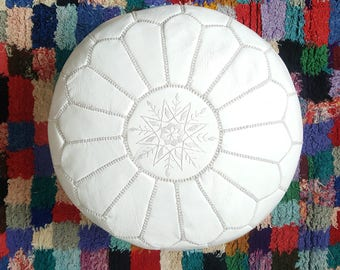 Moroccan white POUF**25% OFF** with White Stitching Leather Pouf