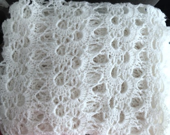 Ivory lacy crocheted hand knitted baby wrap
