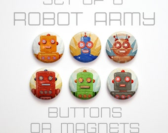 "Gift, Kids Gift, 6 Retro Robot Buttons 1 inch or Magnets, 1"" Retro Robot Magnets, Retro Robot Pinbacks, Retro Robot Party Favors"