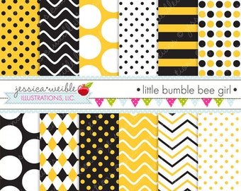 Little Bumble Bee Cute Digital Papers Backgrounds for Personal and Commercial Use, Bumble Bee Patterns Bumble Bee Backgrounds