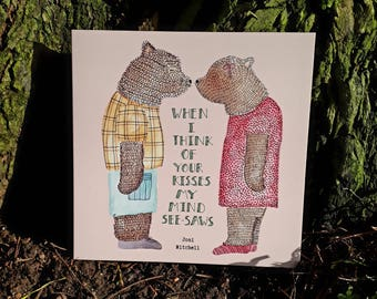 Square card- 'Bear Kiss'