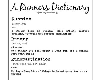 Runner's card - A Runners Dictionary