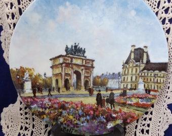 Louis Dali Paris Plate with COA, Jardin Des Tuileries Et L' Arc de Triomphe du Carrousel, Paris France Plate, Louis Dali Plate, Paris Decor