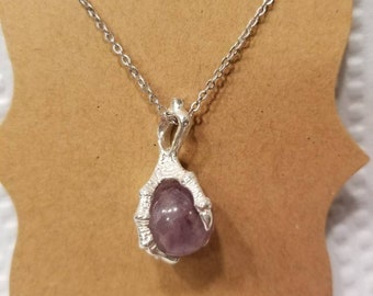 Sterling silver Amethyst claw necklace