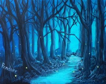 Print of original fireflies painting 4 x 6.  Matted to 5 x 7, FREE shipping!!!