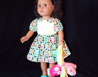 """Butterflies & Bugs Dress for American Girl Doll! n Other 18"""" Style Dolls with a Doll Pet too! Blue n Yellow Playground or Dress Up Clothes."""