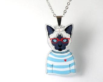 Acrylic Necklace SAILOR CAT Finart-Jewellery