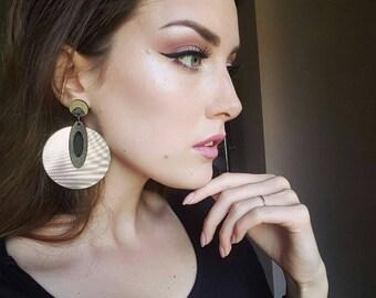 Gold earrings Dangle earrings African earrings Tribal earrings Ethnic jewelry Modern earrings Big earrings Statement earrings Abstract