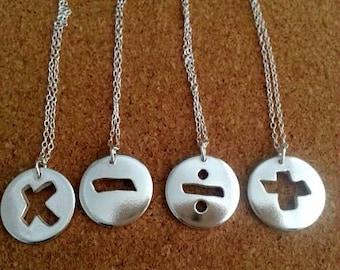 Math necklace, Math Jewelry, Geek, Math Gift, Teacher's Gift, Graduation Gift, Math Charm Necklace, Math, Graduation present, Graduation