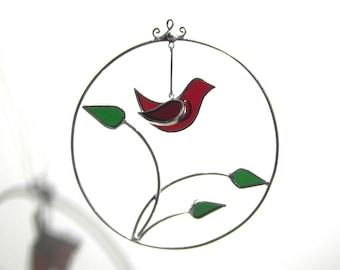 Vous choisissez n'importe quelle couleur - 3D vitrail ornement - tour oiseau branche Maison Jardin Suncatcher suspendre sapin de Noël (FAIT à la COMMANDE)
