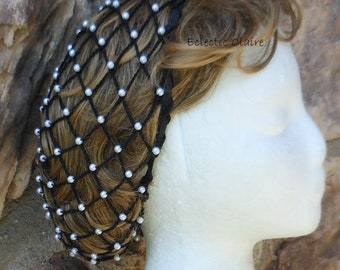 Hair Snood Renaissance Victorian Beaded Black Hair Net Hat Pearl Beads Hair to the TOP of the Shoulders