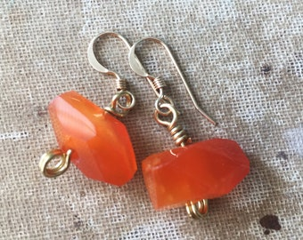 Faceted Carnelian Agate and 14k Gold Filled Dangle Drop Earrings