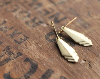 Detroit Raw Brass Chevron Crest Earrings on Brass Ear Wires - Mod and Trendy Geometric Chic