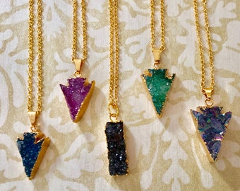 14K Gold Filled Delicate Druzy Colorful Layering Necklace / Gift / Trending / Special Occasion / Wedding / Bridesmaid / Birthday / Jewelry