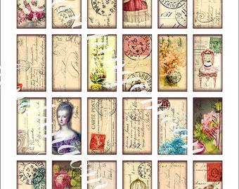 24 Images Paris Postcard Postmarks Stamps Domino Shapes 1 by 2 inches Pendants Paper crafts Scrapbook Digital Download Printable Jewelry