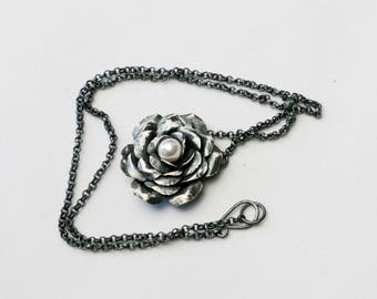 Oxidized Silver Rose with Pearl Necklace